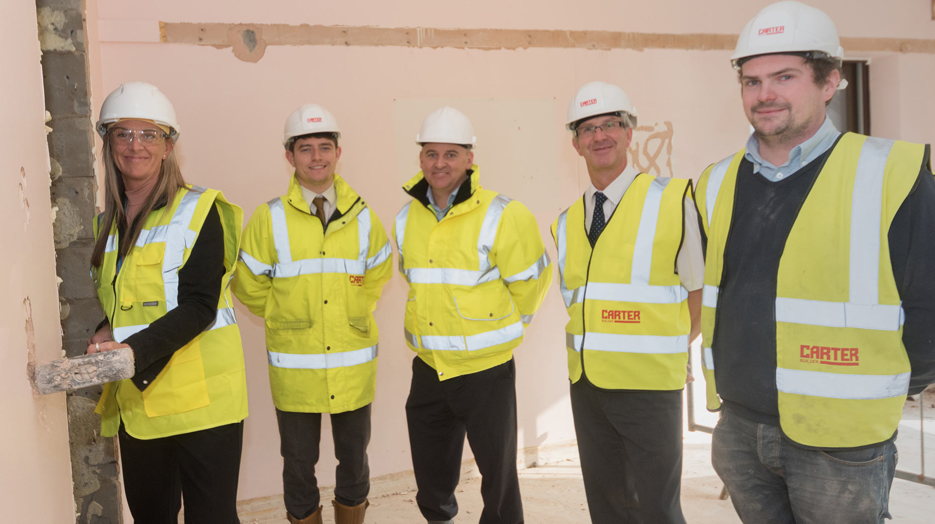 PICU project team with contractors R G Carter and Focus Consultants (L-R)- Tracy Colpitts, Ward Manager, Ryan Barnes Contract Manager for builders R G Carter, Focus Consultants senior project manager Andy White, Ian Jerams LPFT Director of Operations and site manager and R G Carter site manager Jon Loades)