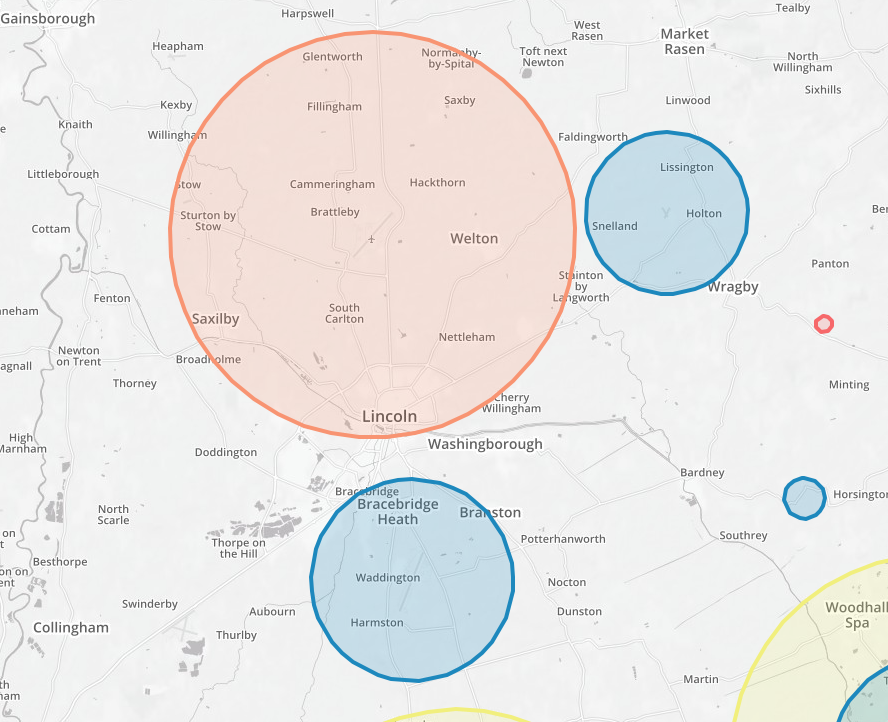 Restricted flying zones in and around Lincoln. Click to view interactive map.