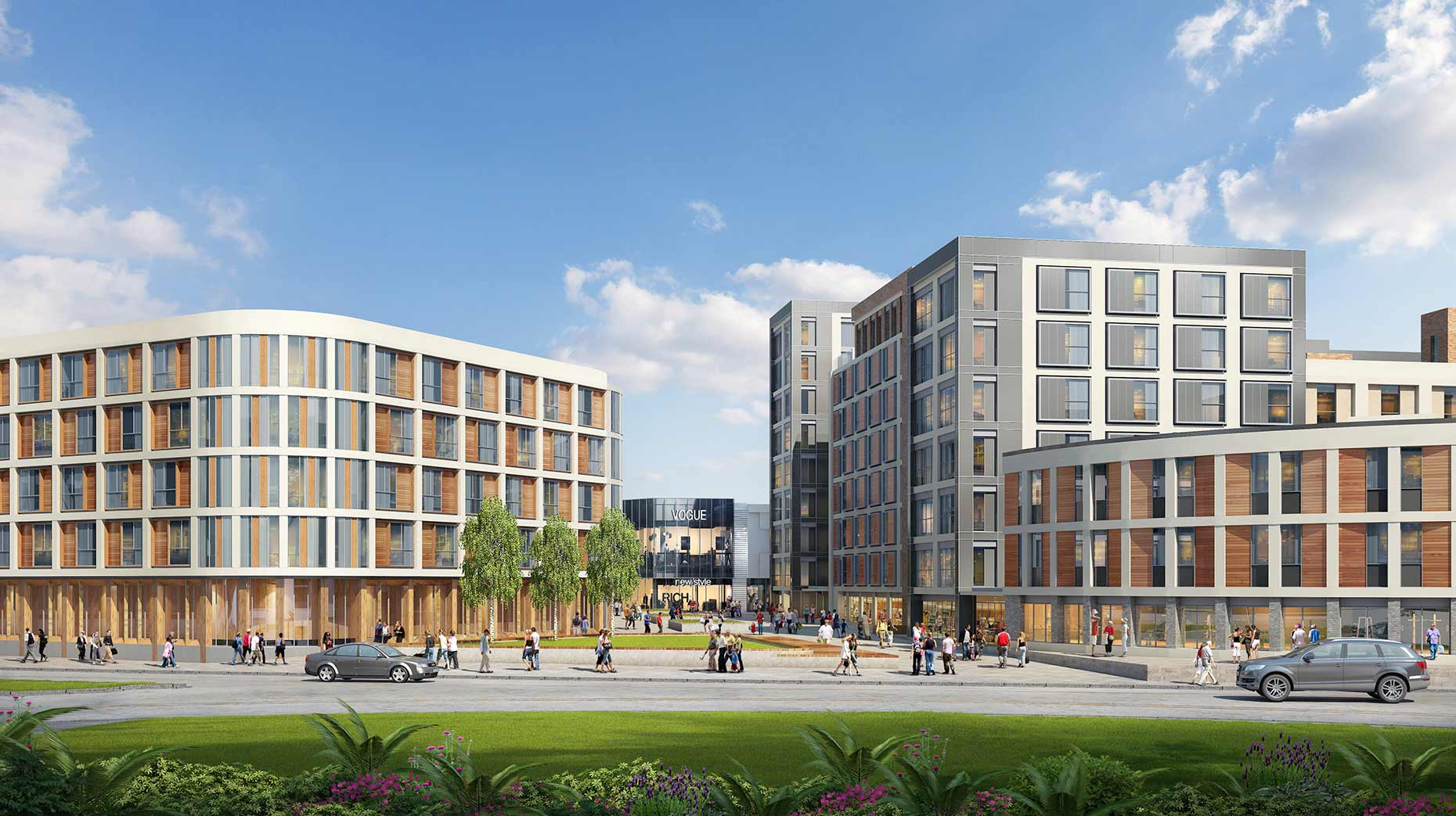 A view of the new student and private accommodation from Tritton Road.