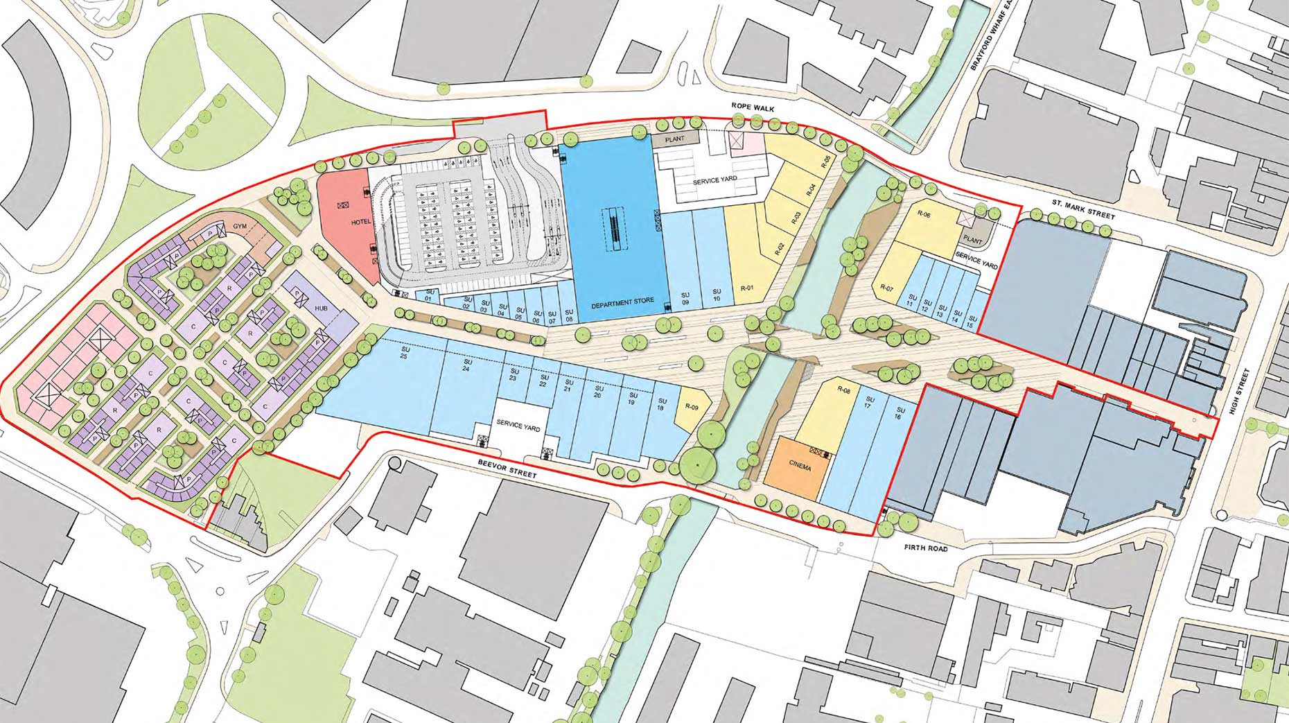 The St Marks retail park masterplan, including new shop, restaurants, a hotel and flats. (Click to enlarge)